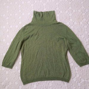Burberry 44 Green Pull Over Sweater Mock Turtle